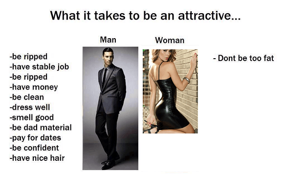 Female standards vs. male standards summed up quite well.