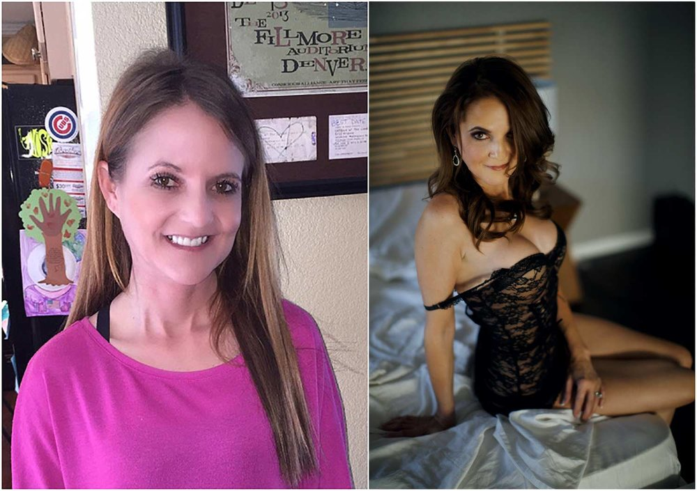 woman turns forty and shows before and after from her boudoir photo shoot