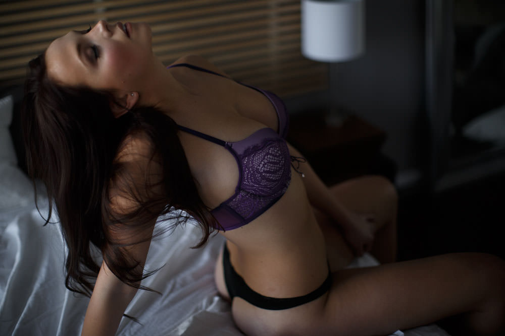 sexy and seductive pose and express during photo shoot