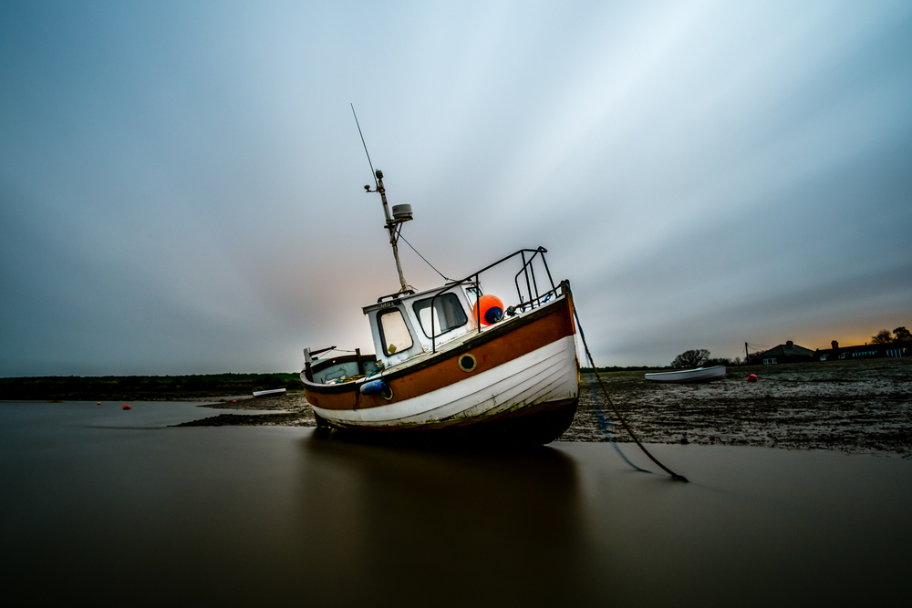 Burnahm Staithe while standing in inches of moving sea water - a 4 minute exposure