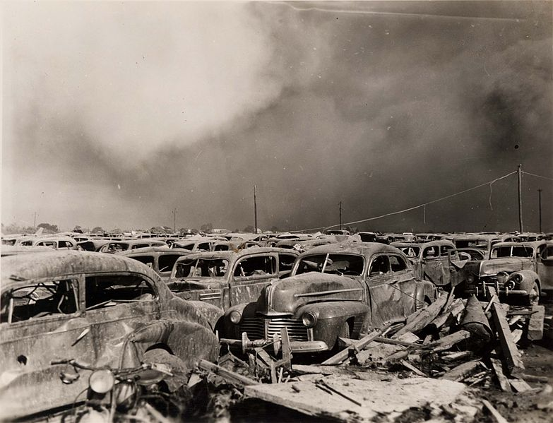 Texas city parking lot after explosion