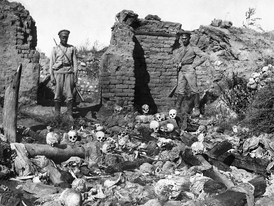Remains of Armenians burnt alive by Turkish soldiers at sheykhalan