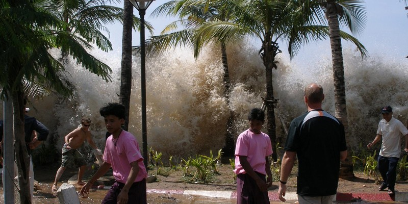 guests and hotel employees react to first wave of tsunami