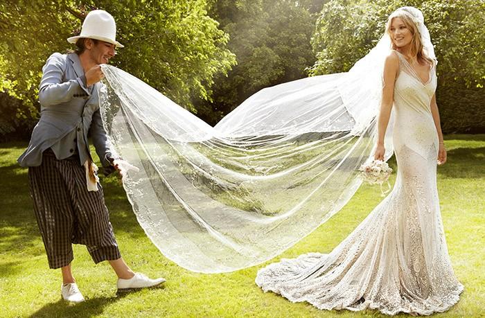 Kate Moss in custom John Galliano.