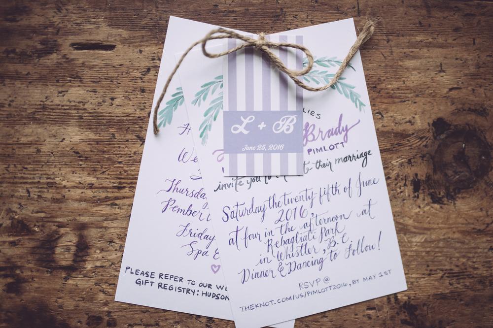 Custom Wedding Invitations: Maps + Watercolour — blue violet events