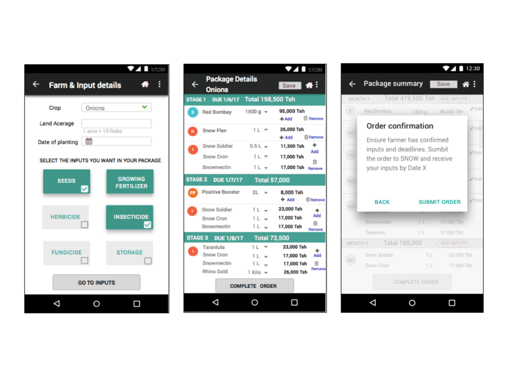 Purchase Order App - This smart phone management tool provided sign-up, tracking, stocking and order fulfillment capabilities to agro-dealers. Every small agro-dealer can increase customer base by sign-up farmers for a layaway packages in the most rural areas. Offline forms are saved until network coverage.