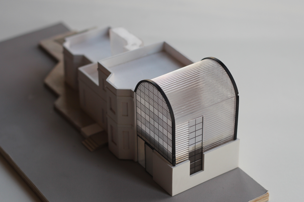 Model of the proposed redevelopment of The Lodge in Tower Hamlets Cemetery Park.
