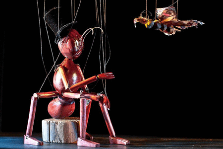 PERFORMANCE the Insect Circus The magical world of The Insect Circus invites the audience to forget reality and become immersed in the strange and beautiful world of insects. Beetles and grasshoppers, wasps and dragonflies, demonstrate their dexterity with great skill and humour. Presented using marionettes, the show breathes new life into the traditional techniques used in Victorian trick marionettes. 11am   Canary wharf Roof Garden 3PM   Shuffle restaurant