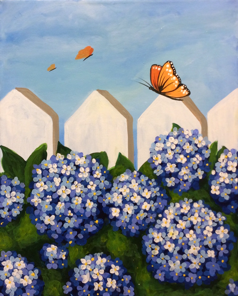 Hydrangeas & Butterflies