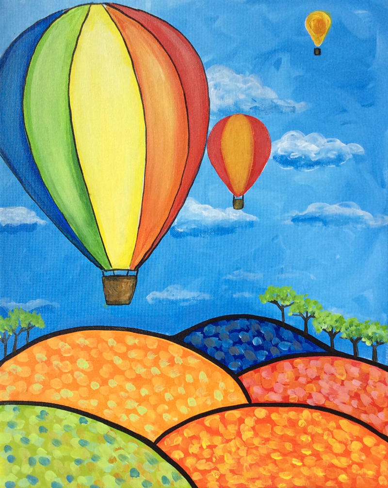 Kids birthday party paintings graffiti paintbar nashua for Step by step canvas painting for kids