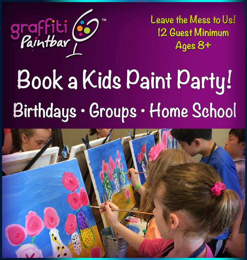 Book a kids paint party and l  eave the mess to us!  Recommended for ages 8+, but we are flexible. 12 Painter Minimum.