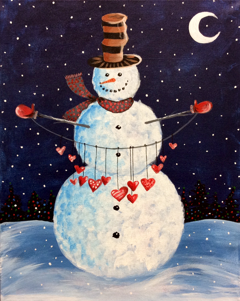 Snowman With Hearts