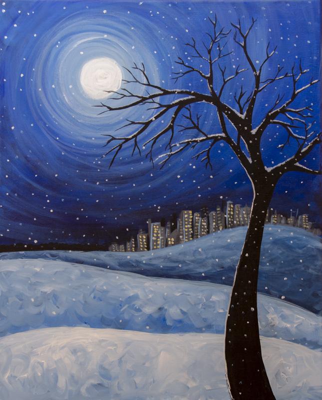Snowy Winter Moon