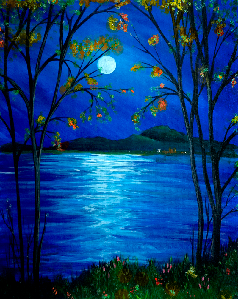 Moonlit Mountain Lake (Fall)
