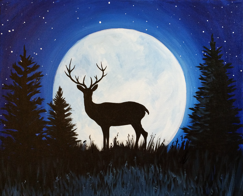 Deer & Moonlight