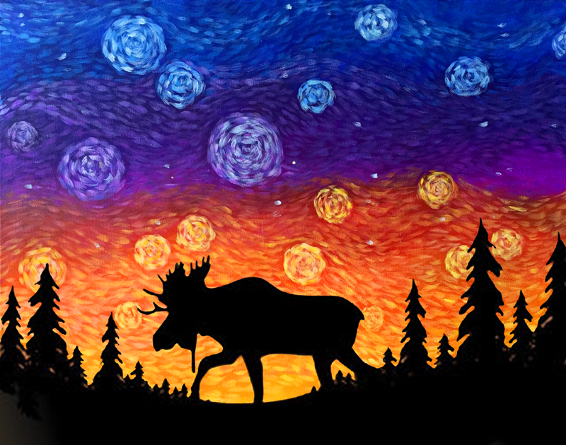 Starry Sunset Moose
