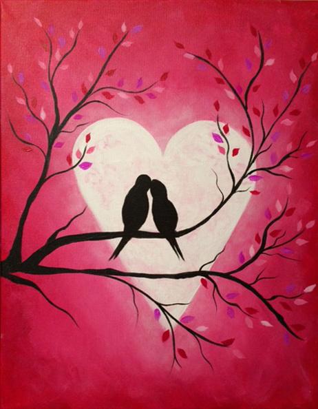 Heart Moon Lovebirds