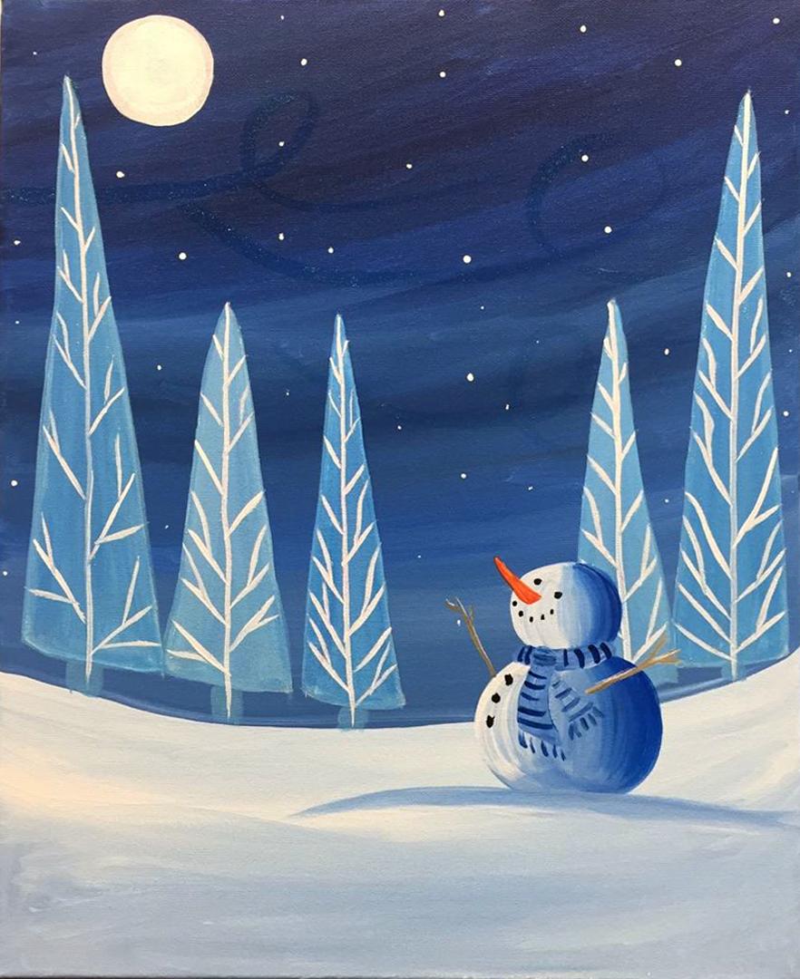 Snowman Winter Moon