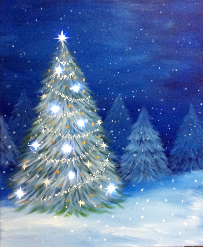 Christmas Tree Aglow, LED Lights Optional