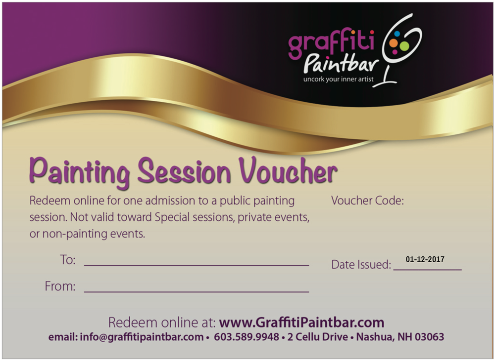 PAINTING PACK VOUCHERS ARE NOT redeemable for SPECIAL SESSIONS, PRIVATE EVENTS OR NON PAINTING EVENTS. EACH VOUCHER ADMITS ONE AND MUST BE REDEEMED ONLINE TO PRE-REGISTER FOR SESSIONS. OUR SITE WILL ONLY ACCEPT ONE VOUCHER PER PAYMENT TRANSACTION.