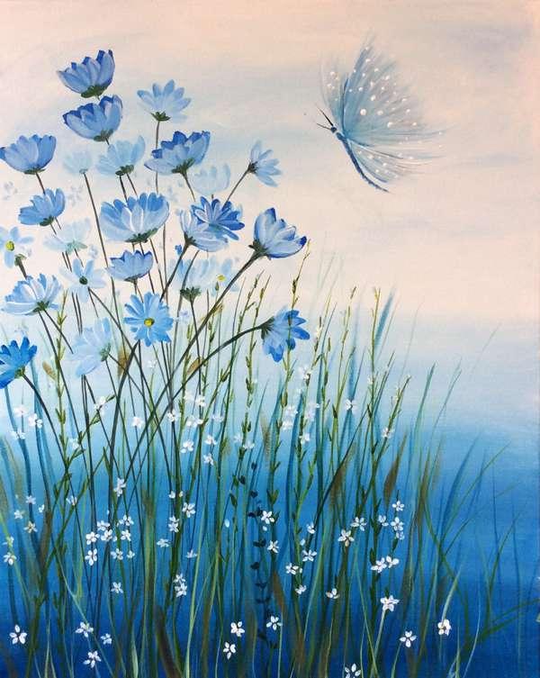 Butterfly & Blue Flowers