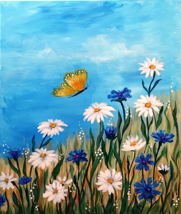 Daisies & Butterfly