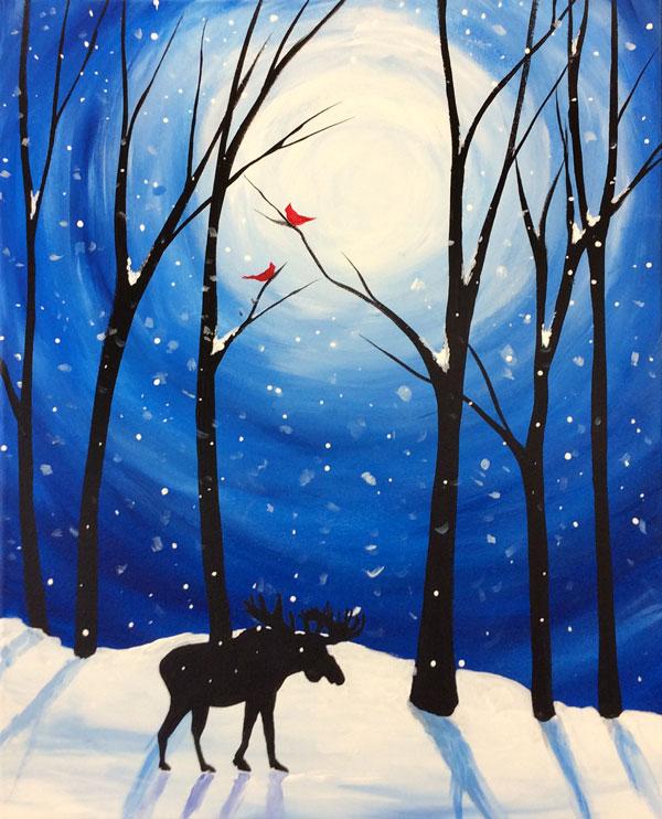 Snowy Winter Moose