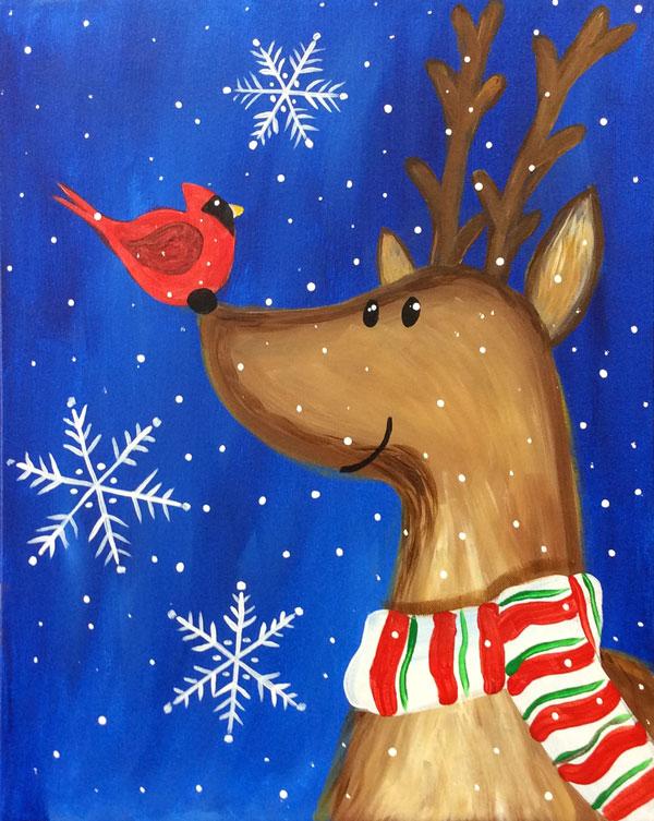 Reindeer & Cardinal