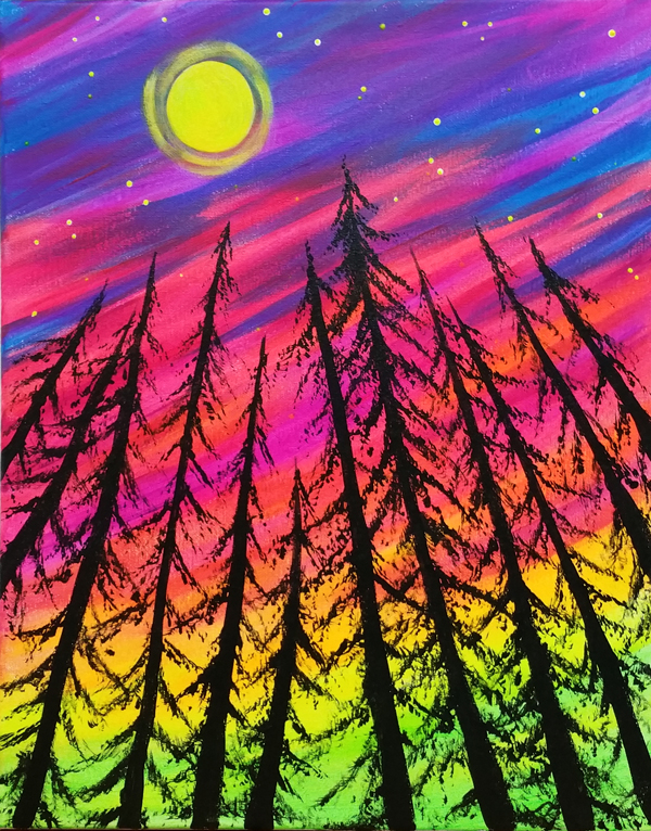 Glow Forest, Blacklight Painting