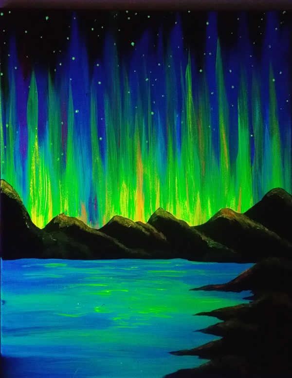 Aurora Glow Blacklight Painting
