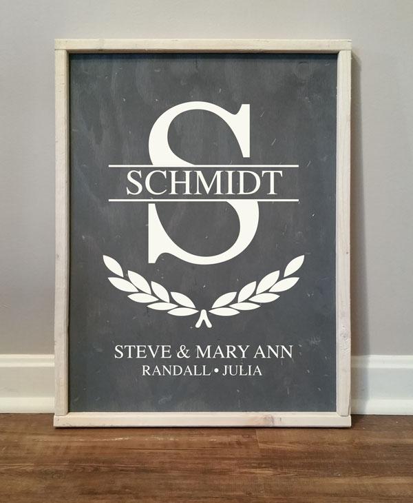 Schmidt Split Family Monogram, personalized