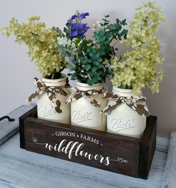 Wildflowers, Mason Jar Box