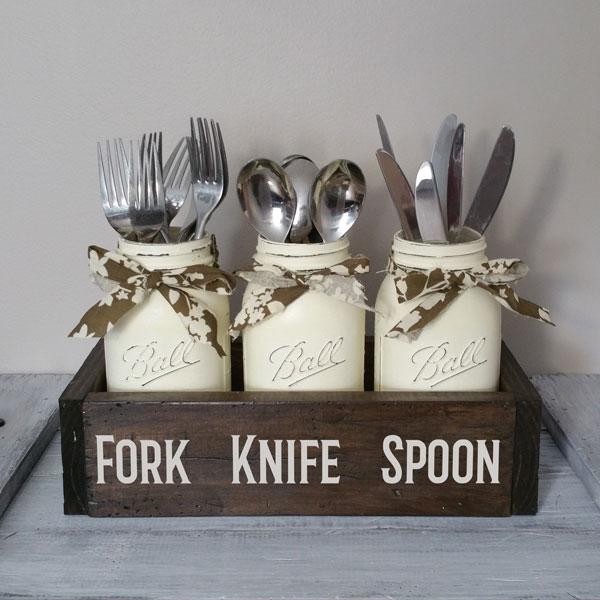Fork Knife Spoon, Mason Jar Box