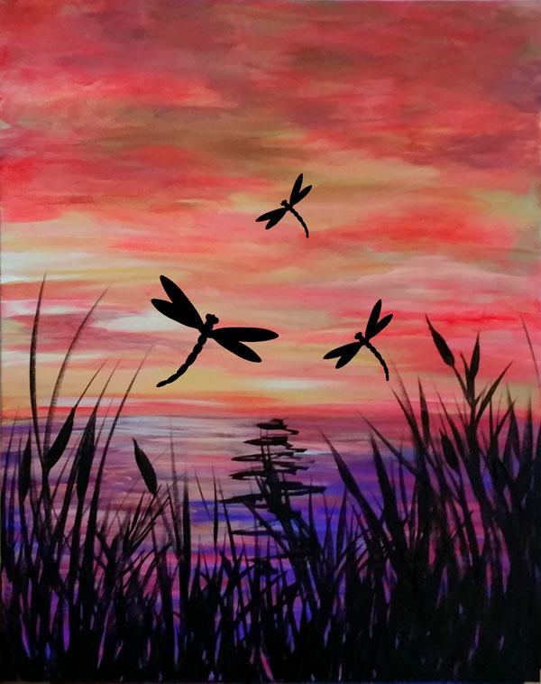 Sunset Flight Dragonflies