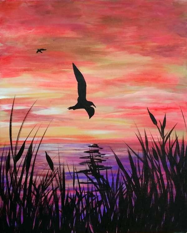 Sunset Flight Seagull