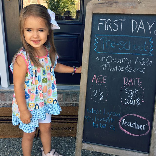 """Joining the first day of school posting madness...truth: the """"teacher"""" answer was not without a little power of suggestion. When I first asked her what she wanted to be when she grew up, she said """"cheese"""". Several times. 🤷🏽♀️👌🧀"""