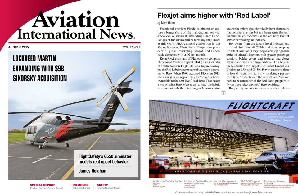 Shot for Flightcraft for the world renown Aviation International News Magazine August 2015 edition.