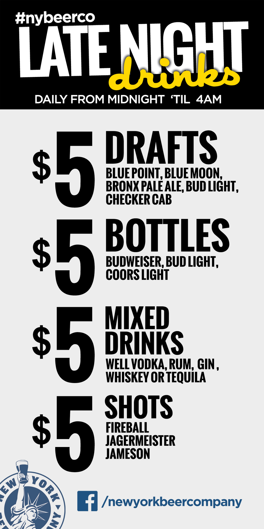 late night drink specials nyc
