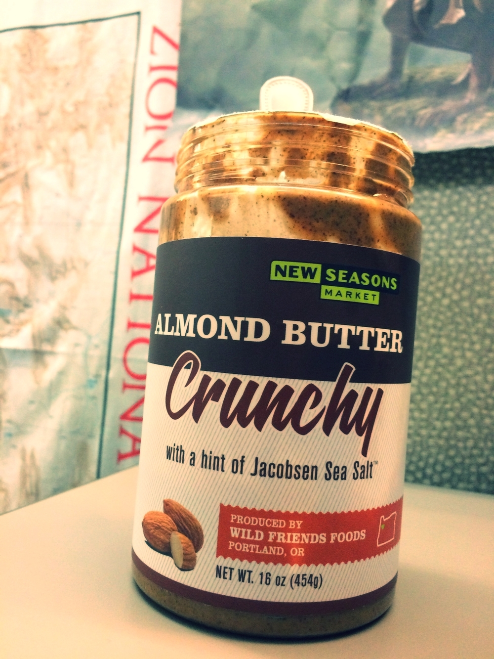 New Season's Almond Butter with a hint of Jacobsen Sea Salt, pictured here, with spoon