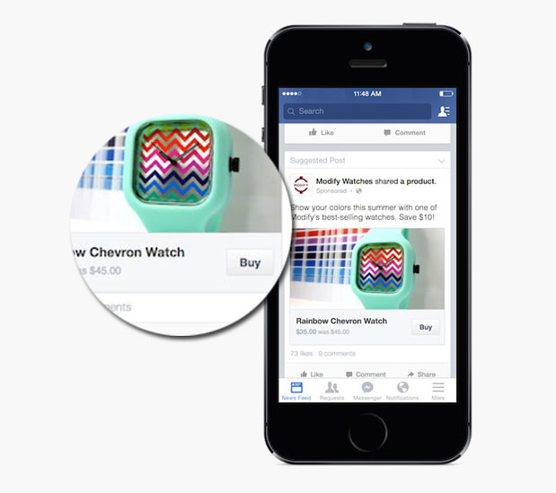 """The Facebook """"buy"""" button on sponsored posts allows users to purchase a product they are interested in with the click of a button, and without ever leaving the Facebook app."""