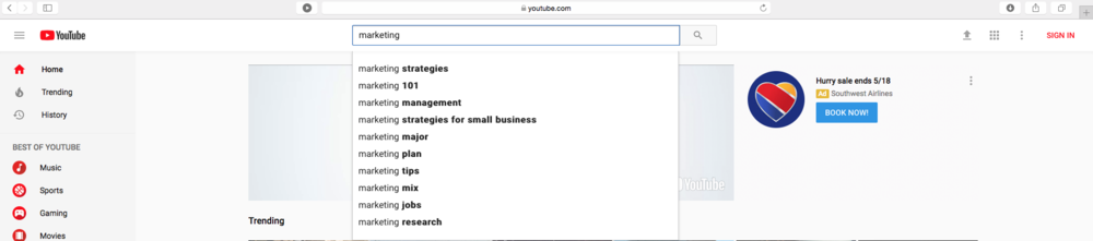 """For example, I typed in """"marketing"""" into the YouTube search and YouTube suggested these searches"""