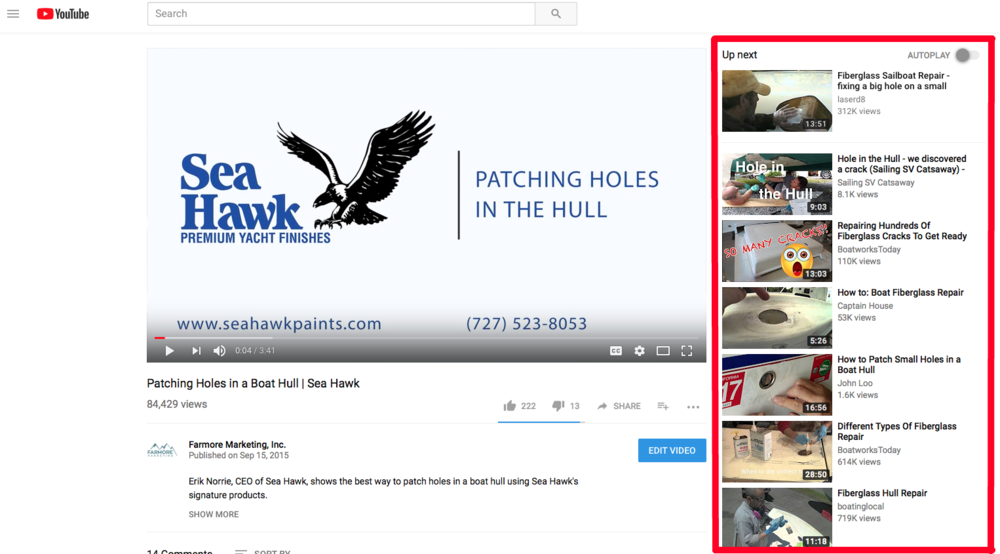You can see the Suggested Videos on the right side panel.