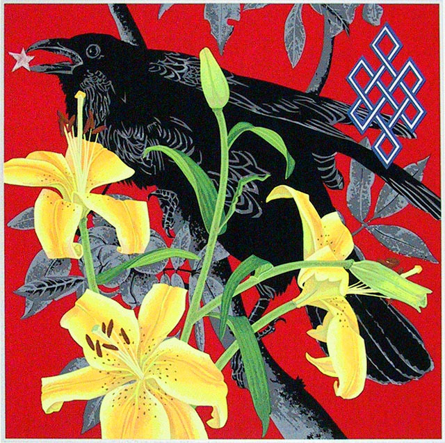 Three Yellow Lilies and a Raven