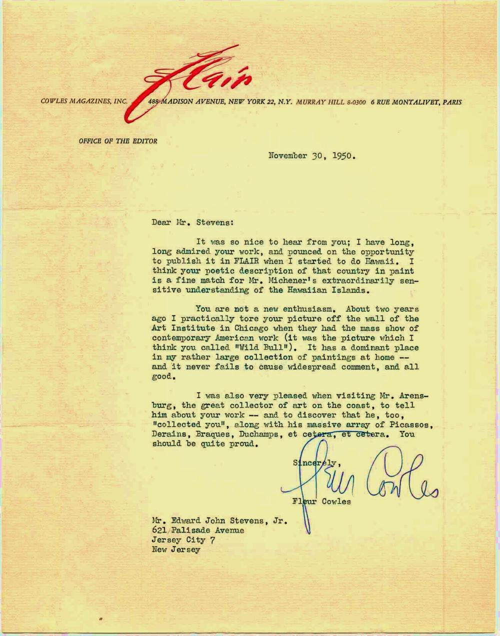 Letter from Fleur Cowles to Edward John Stevens, Jr., 1950.