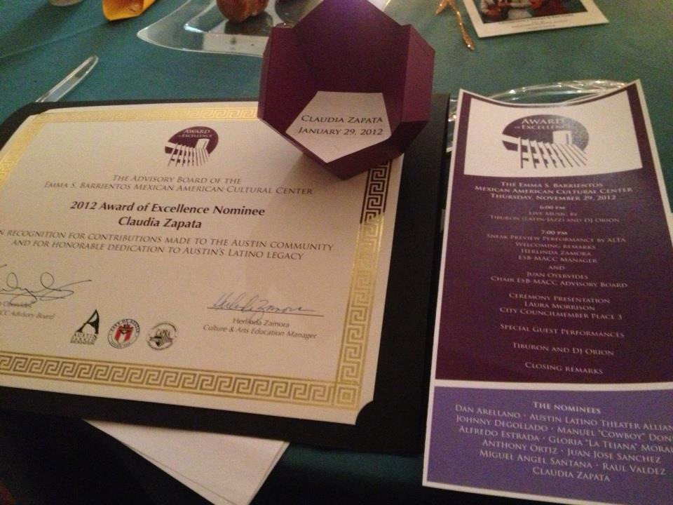 Mexican American Cultural Center Award of Excellence, Service in the Latino Cultural Arts, 2012.