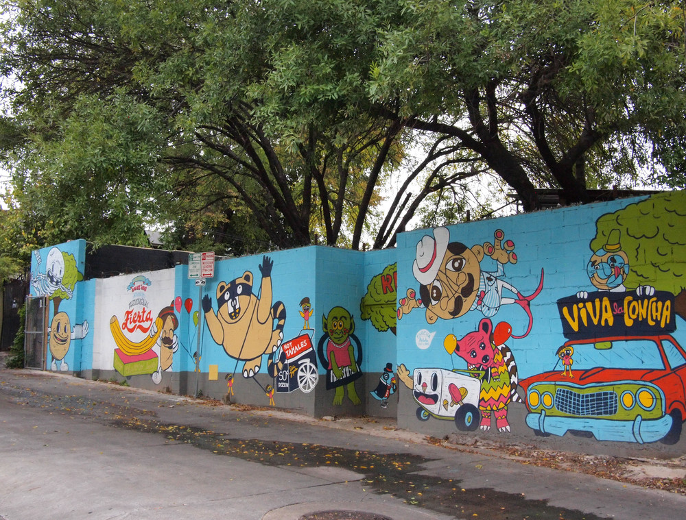 Street view of  Wonderful, Amazing, Stunning, Phenomenal Fiesta  public mural, sponsored by Downtown Austin Alliance, Art and Placemaking Grant, 2012.