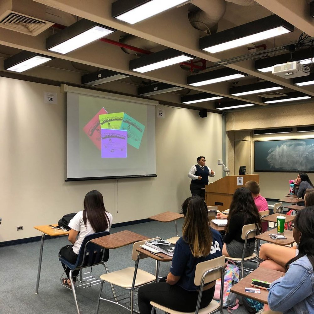 "Invited Speaker, ""Puro Chingón Collective,"" Intro to Women's Studies, Kristin Gamez, Department of Women's Studies, University of Texas-San Antonio, San Antonio, TX, April 19. Photo courtesy of Kristin G."