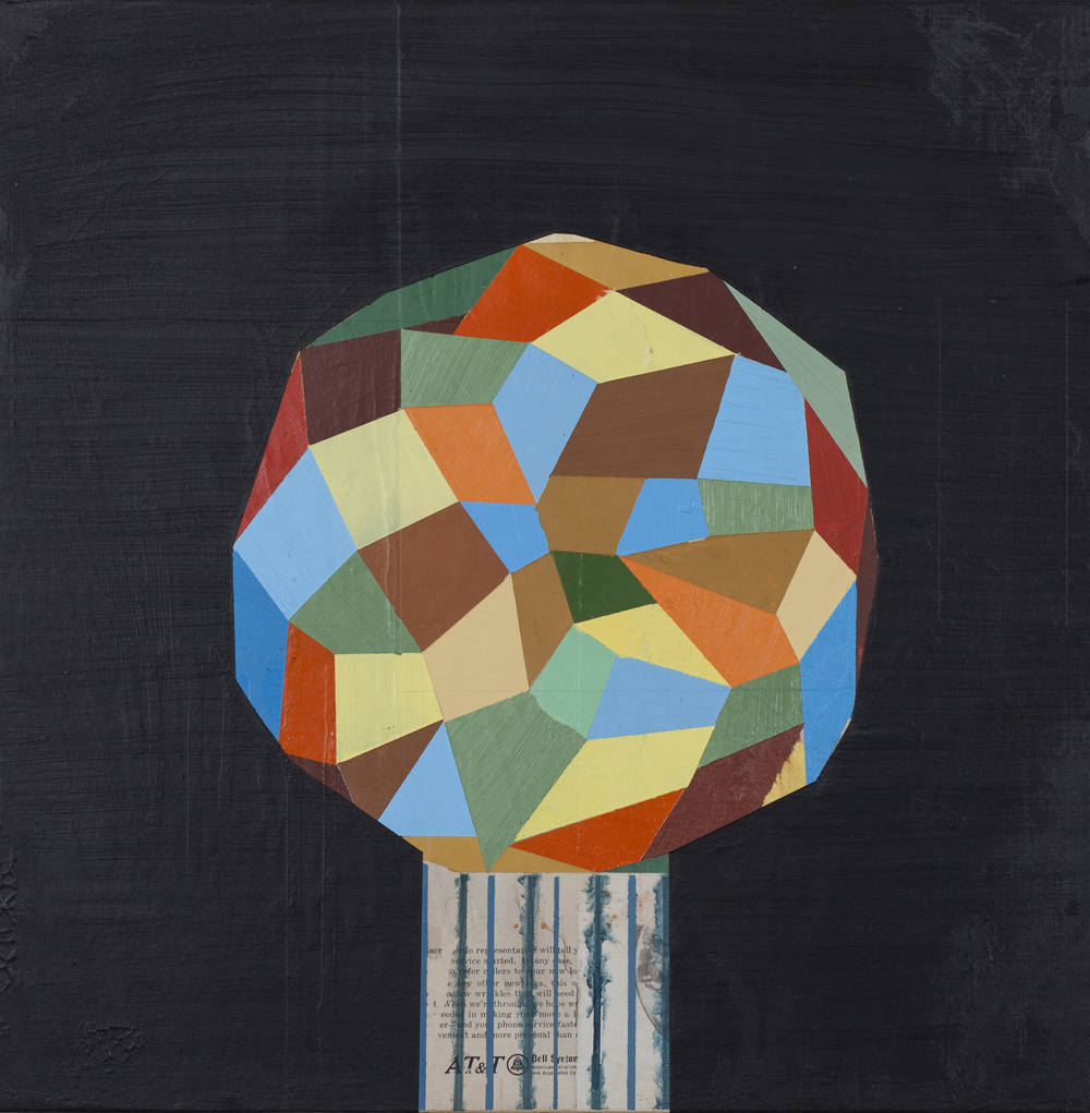 "Prismatic Sphere, 18""x8"", acrylic and collage on wood panel, 18""x18"", 2012"