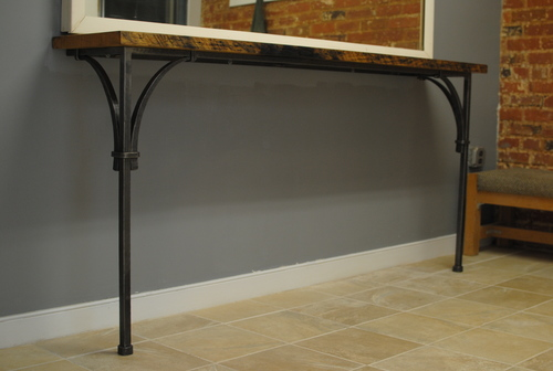 Console Table with forged steel base - Furniture & Sculpture €� Phoenix Handcraft