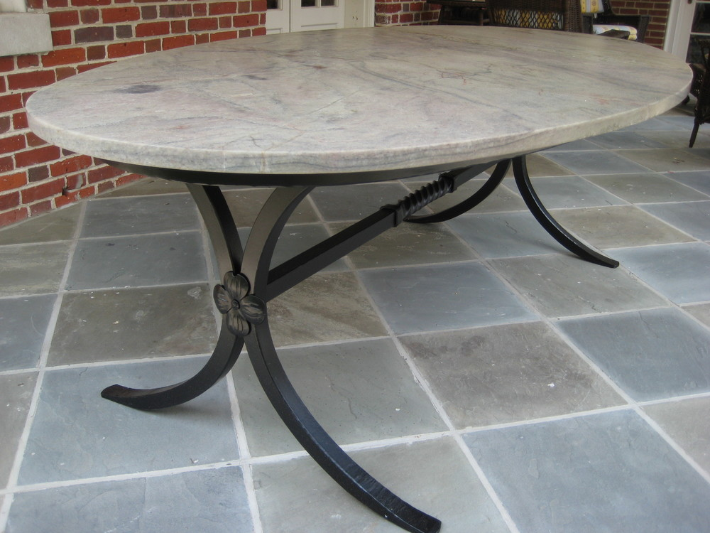 Patio Dining Table With Forged Steel Base